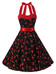 cheap -Women's Rockabilly Vintage Swing Dress Black Cherry Floral Halter Knee-length Sleeveless Cotton All Seasons Mid Rise