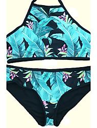 abordables -Bikinis Aux femmes Fleur Rétro Rubans Licou Nylon Spandex
