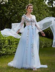 Linha A Princesa Decote V Cauda Corte Tule Evento Formal Vestido com Apliques Faixa de Huaxirenjiao