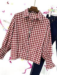 Damen Niedlich Niedlich Alltag Strasse Hemd,Hemdkragen Frühling Langarm N / A Mittel