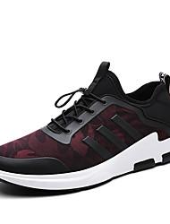 Tenisky-PU-Pohodlné-Pánské-Černá Černá/Červená-Outdoor Běžné Atletika-Plochá podrážka