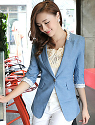 Women's Dailywear Date Business Attire Classic Spring Fall Blazer,Sexy Lady Peter Pan Collar 3/4 Length Sleeve Regular N/A