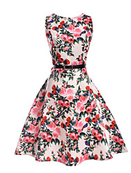 cheap -Girl's Daily Going out Holiday Print Dress,Polyester Spring Summer Sleeveless Floral White