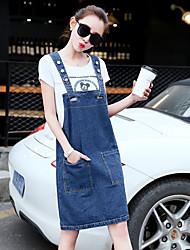весна новых женщин корейской рыхлый джинсового ремень платье дикая значительные тонкие рукава жилет юбки