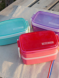 Candy Color Double Layer Lunch Box with Transparent Pot Dot Lid Cover Random Color