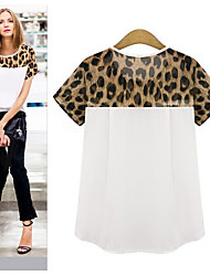Europa leopardo cuciture sciolti a maniche corte maglietta 0.08kg spot grande