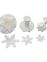 cheap -FOUR-C Excellent Snowflake Sugarcraft Fondant Cake Decorating Plunger Cutters,Christmas Theme Cake Tools Set