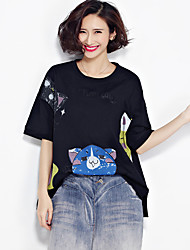 Really making large size women's cotton summer long section 200 pounds of fat mm short-sleeved shirt bat was thin literary T-shirt