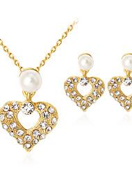 baratos -Mulheres Pérola Conjunto de jóias - Imitação de Pérola, Strass, Chapeado Dourado Coração Clássico, Fashion Incluir Dourado Para Festa / Presente / Diário