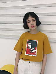 Women's Casual/Daily Sweet 16 School Date Vacation Family Gathering Vintage Summer T-shirt,3D Print Round Neck Short Sleeves Cotton Medium
