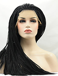 cheap -Heat Resistant Braided Synthetic Lace Front Wigs Black Color Synthetic Synthetic Braided Fiber Hair Wig