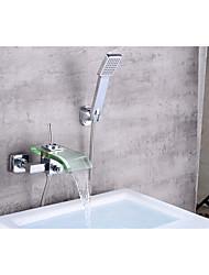 Contemporary Centerset Waterfall Ceramic Valve Single Handle Two Holes Chrome , Bathtub Faucet