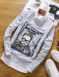 -p27 cabeça bordada de mangas compridas em torno do pescoço t-shirt homens 95% algodão 5% spandex japonês