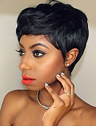 Недорогие -поделки-парик природных текстурированные короткие черные пушистые парики волосы монолитного человек для элегантных женщин