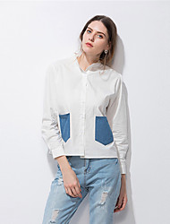 Women's Casual/Daily Simple Street chic Spring Summer Shirt,Patchwork Shirt Collar Long Sleeve Cotton Thin