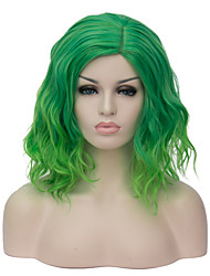 Fashion Green Party Costume Wig For Women Short Wavy Bob Haircut Halloween Wig