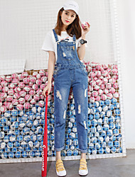 Sign no new land grab Dan hole washed denim strap trousers female