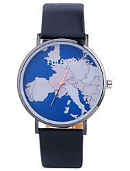 Montre Tendance Montre Bracelet Quartz Cuir Bande Charme Cool Pour tous les jours Carte du monde Patron Créatif Noir Blanc Argent Doré