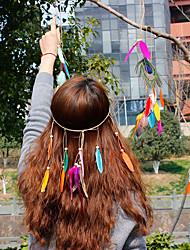 Недорогие -Перья Цветы Шапки Венки Цепочка на голову Заколки для волос Резинки для волос Заставка