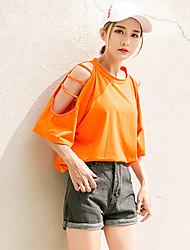 Mujer Simple Chic de Calle Casual/Diario Playa Verano Otoño Camiseta,Hombros Caídos Un Color 1/2 Manga Algodón Medio