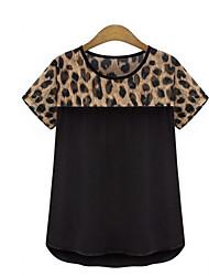 Women's Daily Casual Street Simple T-shirt,Animal Print Round Short Sleeves N/A Medium