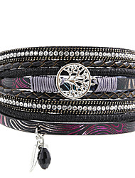 Недорогие -Кожаные браслеты Роскошь Богемные Мода Кожа Стразы Искусственный бриллиант Сплав нерегулярный Бижутерия Новогодние подарки Свадьба Для