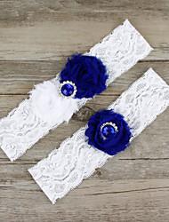 2pcs/set Dark Blue Satin Lace Chiffon Beading Wedding Garter