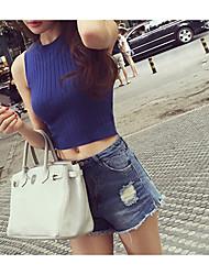 Chaleco sin mangas del cuello redondo delgado de la manera coreana nueva del verano estatura ultra-corta modelos multicolores salvajes