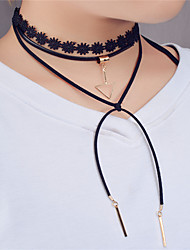 Women's Choker Necklaces Statement Necklaces Layered Necklaces Jewelry Triangle Shape Leather Lace Copper Unique Design Dangling Style