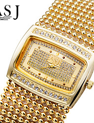 Недорогие -ASJ Жен. Кварцевый Часы-браслет Японский Имитация Алмазный Медь Группа Роскошь / Блестящие / Elegant / Мода Серебристый металл /