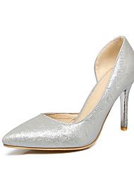 Da donna-Tacchi-Formale-Comoda-A stiletto-Finta pelle-Oro Argento Grigio Rosa