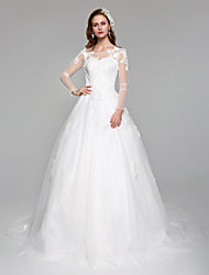 Ball Gown Princess Illusion Neckline Court Train Lace Tulle Wedding Dress with Appliques by LAN TING BRIDE®