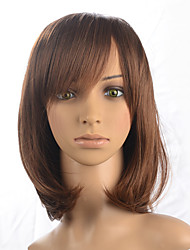 Light Brown Short Bob Wig Women Party Wig Curly Wavy Synthetic Fiber Wig Cosplay Costume Wigs