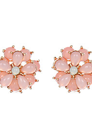 cheap -Women's Crystal Stud Earrings - Crystal Flower Hot Pink For Party / Daily / Casual