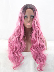 Heat Resistant Synthetic Wigs Rose Red with Dark Roots Natural Fashion Popular Wig Daily Female Hairstyle Body Wave Sexy Trendy Wig