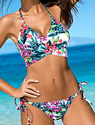 cheap -Women's Halter Bikini,Lace Up Color Block Floral Sport Polyester