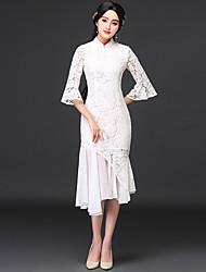 Original 2017 Frühjahr neue Frauen&# 39; s lange Abschnitt der eleganten Vintage Spitze Kleid Trompete Ärmel Kleid Cheongsam Kleid