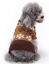 cheap -Cat Dog Coat Sweater Dog Clothes Winter Spring/Fall Snowflake Cute Fashion Christmas Grey Coffee British Pet Clothing