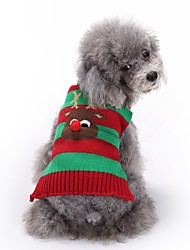 baratos -Gato Cachorro Súeters Roupas para Cães Fofo Fashion Natal Rena Vermelho Verde Azul Branco-Preto Ocasiões Especiais Para animais de