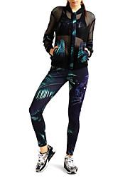 Недорогие -MIDUO Жен. Спортивный костюм - Черный Виды спорта Леггинсы / Одежда для защиты от солнца / Верхняя часть Аэробика и фитнес, Бег Длинный рукав Спортивная одежда Дышащий, Защита от солнечных лучей