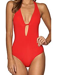 Недорогие -Женский Однотонный Закрытый купальник Купальники Однотонный Бандо Белый Черный Красный