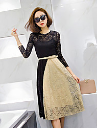 2017 spring new Women Korean ladies temperament spell color openwork crochet lace dress with a high waist