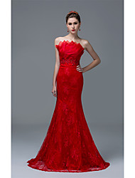 cheap -Fit & Flare Strapless Sweep / Brush Train Lace Formal Evening Dress with Beading Sequins by DRRS