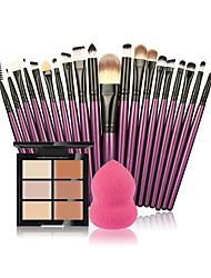 Makeup Brush set Great 6 Color Concealer  20 Makeup Brush  1 Water Puff Cosmetic Powder Puff Beauty tools kit