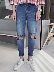Men's Spring 2017 English alphabet broken knee pantyhose feet Korean Slim nine points Harlan jeans tide