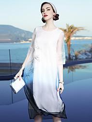 Largo Tubino Vestito Da donna-Casual Spiaggia Per uscire Vintage Semplice Sofisticato Fantasia floreale Rotonda Al ginocchio Seta