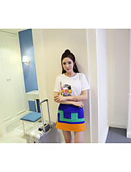 Nett! Korean ladies embroidered cartoon short sleeve T-shirt + waist hit color bust A word skirt suit