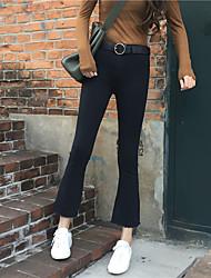 tiro real! Coréia moda estilo chique micro preto-sino calça jeans cintura fina flash de meia-calça