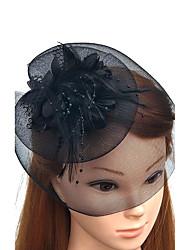 Piume A rete Copricapo-Matrimonio Occasioni speciali Copricapo Fiori Cappelli Veli corti Ghirlande di fiori 1 pezzo