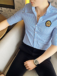 Недорогие -Для мужчин На каждый день Офис Все сезоны Рубашка Воротник-стойка,Простое Полоски Рукав ½,Полиэстер,Средняя